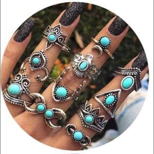 11 VINTAGE BOHO TURQUOISE STACKABLE MIDI RINGS